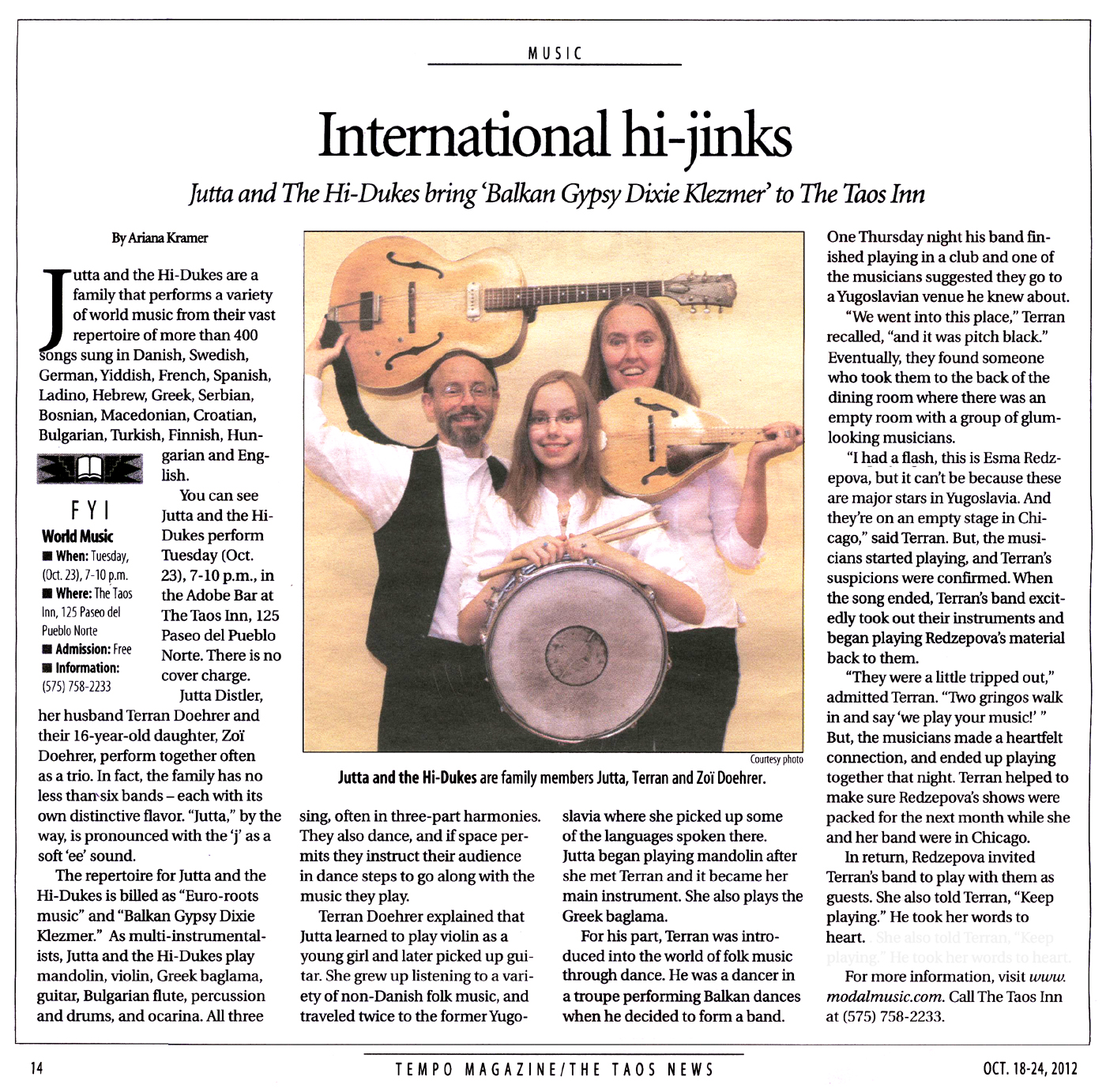 Image of the Taos News Tempo Magazine October 18, 2012 clipping about Jutta & the Hi-Dukes (tm) Design © 2013 Modal Music, Inc. (tm) All rights reserved.