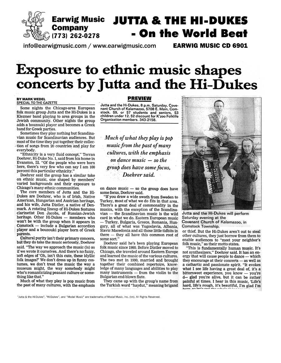 Image of the Kalamazoo Michigan Gazette newspaper clipping from the late 90s about Jutta & the Hi-Dukes (tm)Design © 2011 Modal Music, Inc. (tm) All rights reserved.