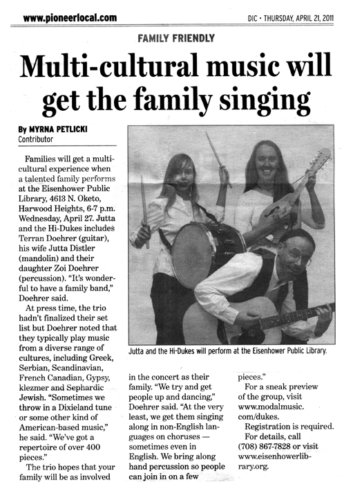 Image of the Pioneer Press April 21, 2011 clipping about Jutta & the Hi-Dukes (tm)