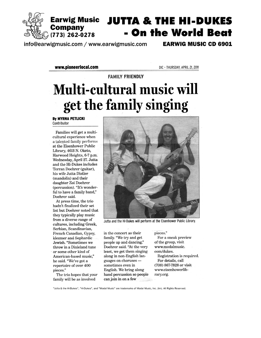 Image of the Illinois Pioneer Press Diversions Section April 21, 2011 newspaper clipping about Jutta & the Hi-Dukes (tm) Design © 2011 Modal Music, Inc. (tm) All rights reserved.