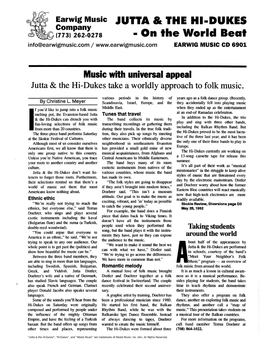 Image of the Skokie Illinois Review Diversions Section May 28, 1992 newspaper clipping about Jutta & the Hi-Dukes (tm)Design © 2011 Modal Music, Inc. (tm) All rights reserved.