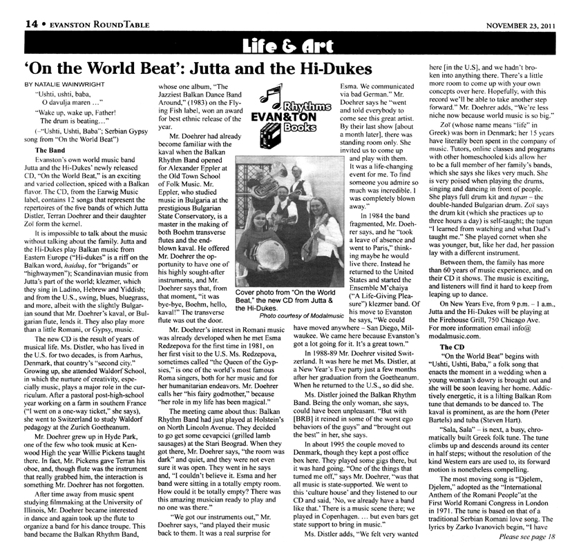 Image of page one of two of the Evanston Round Table November 23, 2011 clipping about Jutta & the Hi-Dukes (tm)