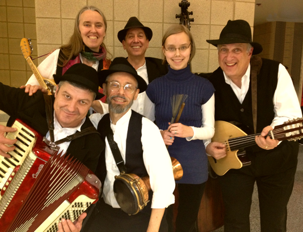 Image of Ensemble M'chaiya (tm) as a sestet – Zoï Doehrer – drums, Jutta Distler – mandolin, Terran Doehrer – percussion, George Petrov – accordion, Marc Edelstein – bass, Mark Gavoor – oud. Photo copyright 2012 Modal Music, Inc. (tm) All rights reserved.