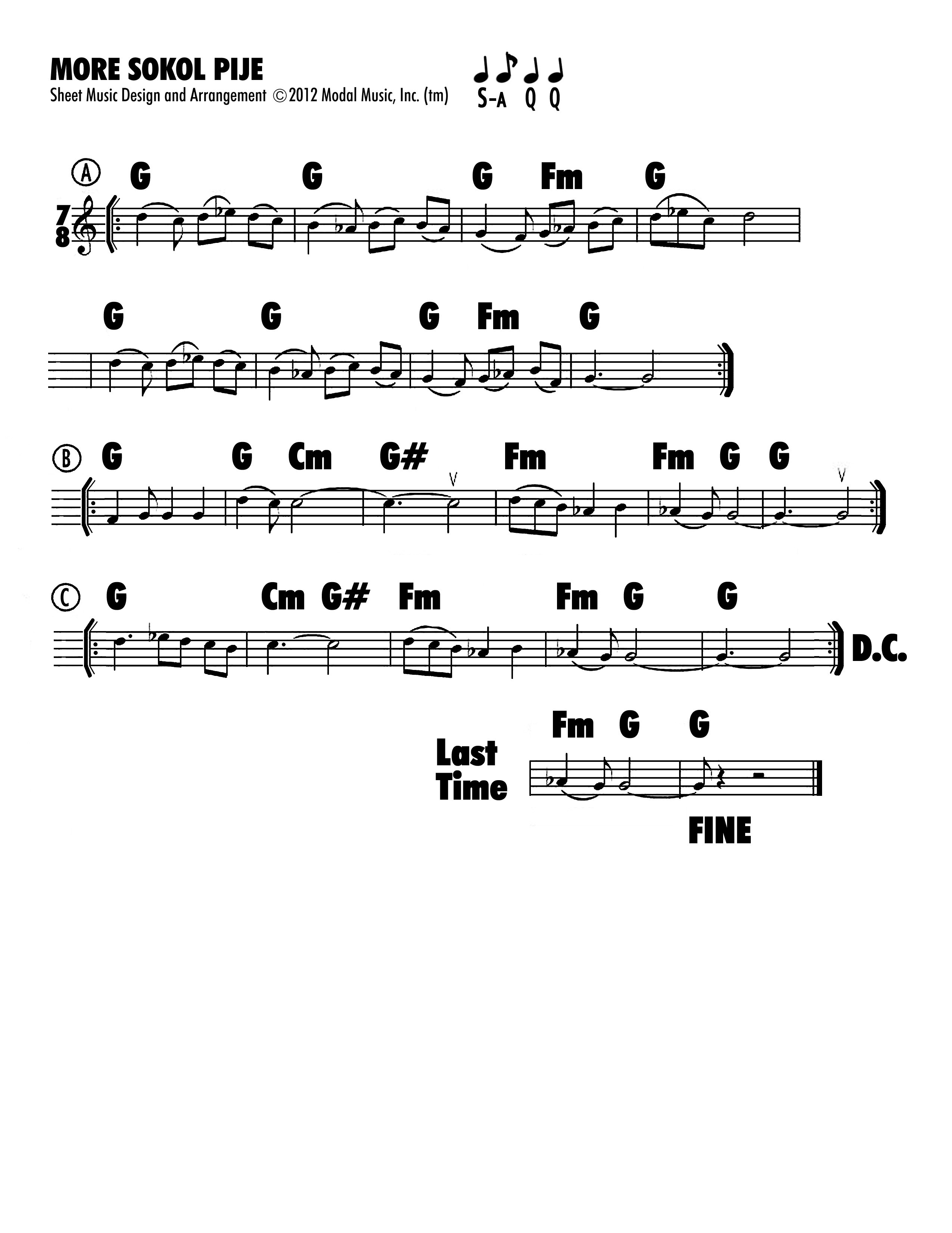 Image of sheet music of More Sokol Pije that accompanies the Jutta & the Hi-Dukes (tm) presentation at Paul Tyler's Fiddle Club. Click on link to download.